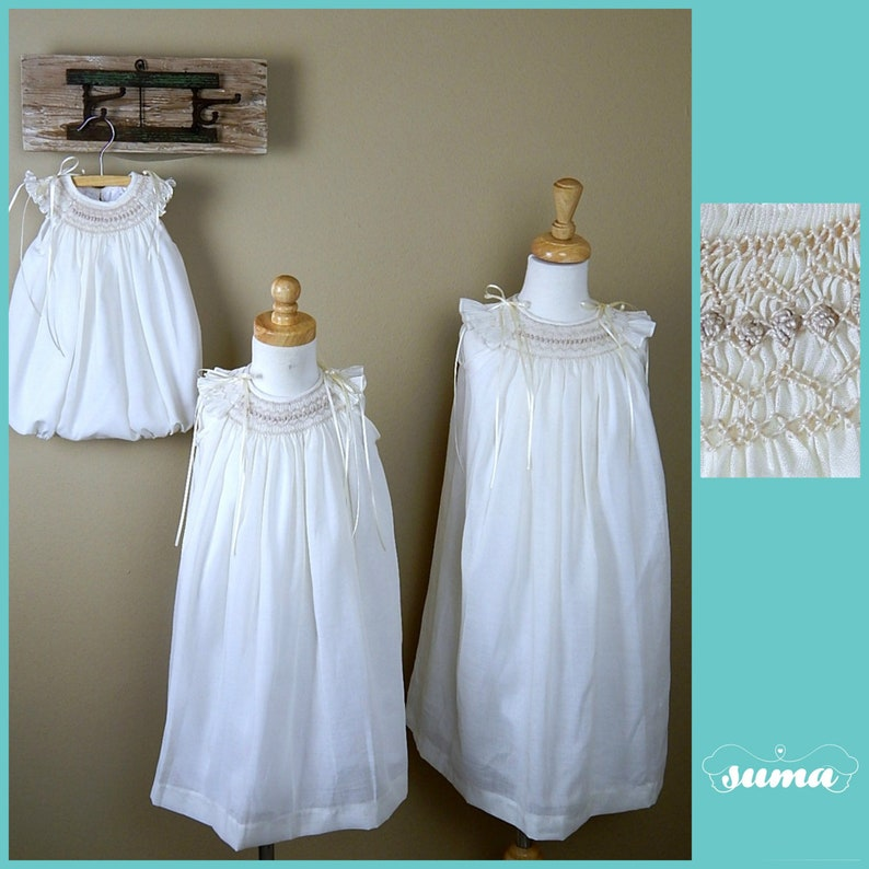 d97ae2b5c Ivory cotton hand smocked Matching sitsers dresses Flower