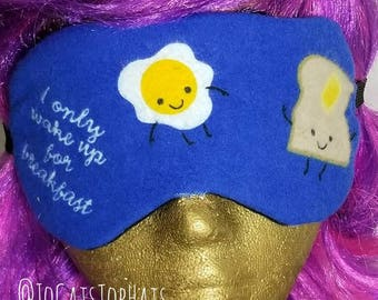 Kawaii I Only Wake Up for Breakfast Sleep Mask Soft Flannel Eyemask Happy Eggs Toast