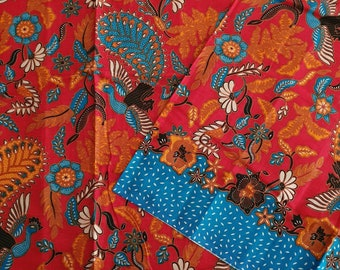 madura sarong java batik in dark maroon Traditional Indonesian batik fabric pareo