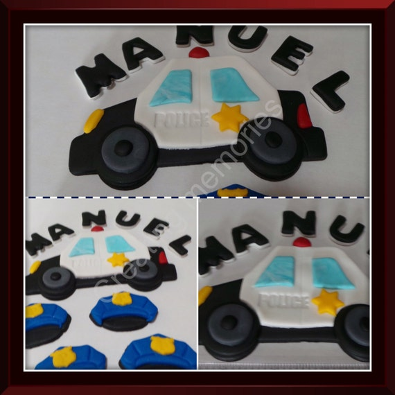Fondant Police Car Set With Childs Name Ready To Decorate Etsy