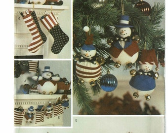 Butterick Pattern 3619 Snowman Christmas Accessories one size UNCUT
