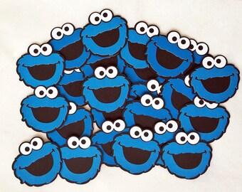 """Cookie Monster Die Cuts - 3"""" Cookie Monster Cut Outs - Cookie Monster - 25 Cookie Monster Cut Outs - Cookie Monster Tags - Sesame Street"""