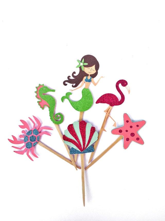 Mermaid Cupcake Toppers - Mermaid Party - Under the Sea Cupcake Toppers - Mermaid Decor - Mermaid Toppers - Under the Sea Theme - Mermaid
