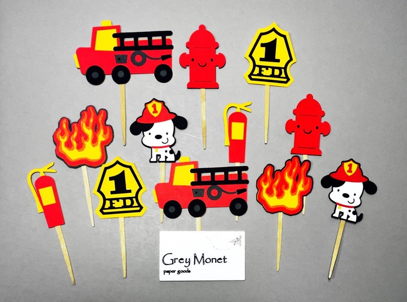 Firefighter Cupcake Toppers Set Of 12 Firefighter Cupcake Etsy