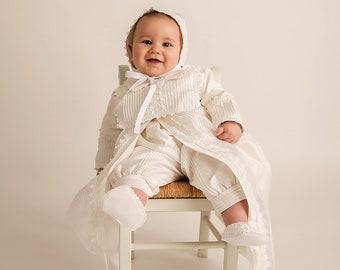 e84733620 Baptism Gift Christening Gown for boy | Baby Boy Baptism Outfit White or  Ivory Model B002 Burbvus | Baptismal Romper