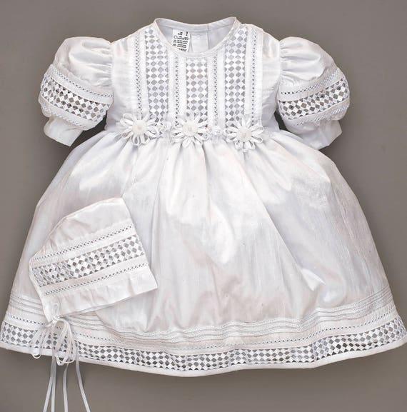 Elegant Baby Girl Christening Baptism dress, HandMade, Silk Ivory or White Model G008 Burbvus | Girls Christening Gown Dress