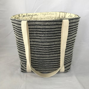 brown handmade and hand-woven with cotton lining and polypro straps black tan Medium Tote Bag