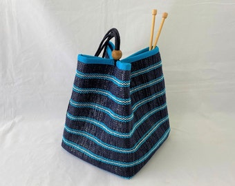 Medium Tote recycled tote Purple tote polypro straps navy cotton lining purple tote hand-woven handmade PurpleNavyOlive
