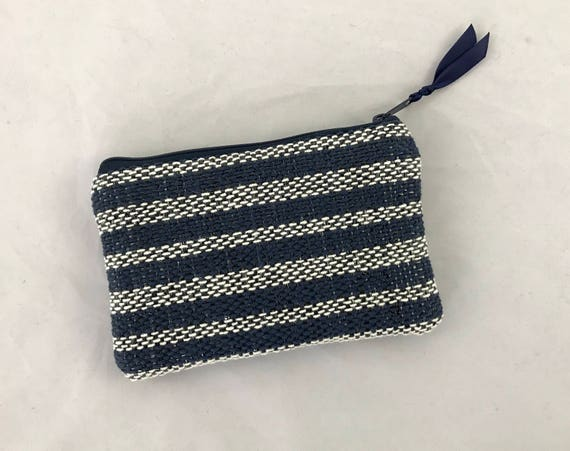 with green satin lining green wristlet with bluewhite stripes Wristlet handmade and handwoven