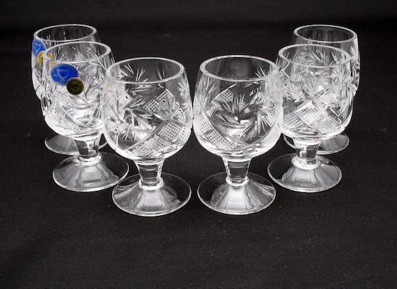 Lot de 6 vintage russe cristal Thé Verres pour métal titulaire Podstakannik