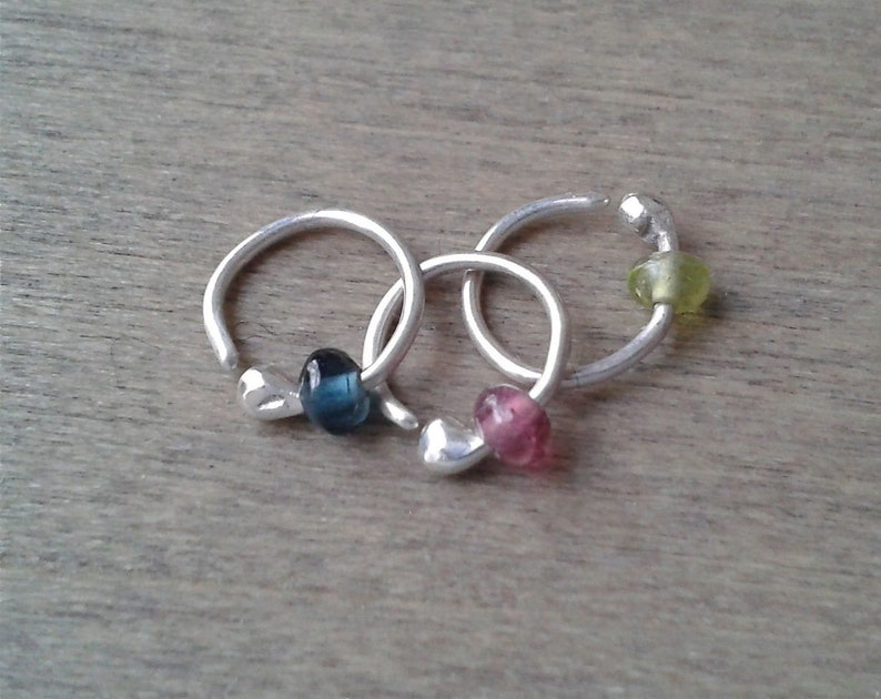 Eyebrow ring tiny silver ring 20 gauge helix ring single image 0