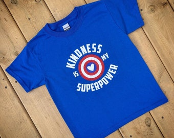 Kindness Shirt, Anti-Bullying, Royal Blue Shirt, Unisex Kids, Boys and Girls, Toddlers, Kindness Shirt, Kindness is my Superpower