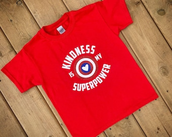 Kindness Shirt, Anti-Bullying, Red Shirt, Unisex Kids, Boys and Girls, Toddlers, Kindness Shirt, Kindness is my Superpower