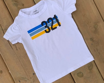 YOUTH - Down Syndrome Awareness Shirts, Unisex Tee, Toddler, Boys and Girls, 321 Striped White Tee