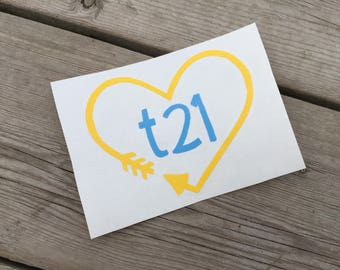 """Down Syndrome Awareness Decal, Car Decal, Laptop Decal, Vinyl Decal, Heart and Arrow """"t21"""" Design Decal, Yellow and Blue"""