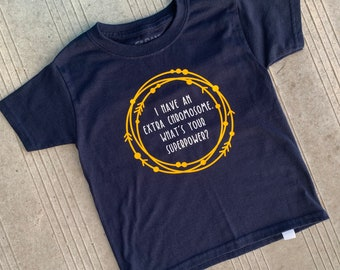 YOUTH - Down Syndrome Awareness Shirts, Unisex Tee, Toddler, Boys and Girls, I Have an Extra Chromosome Navy Blue Tee