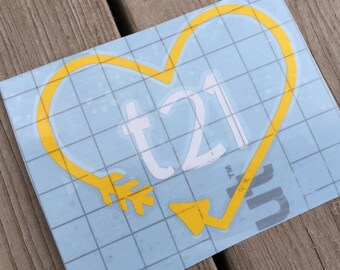 """Down Syndrome Awareness Decal, Car Decal, Laptop Decal, Vinyl Decal, Heart and Arrow """"t21"""" Design Decal, Yellow and White"""