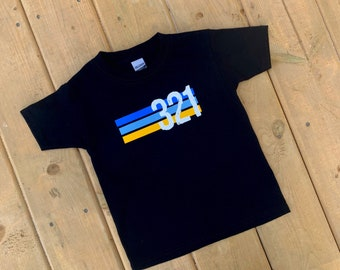 YOUTH - Down Syndrome Awareness Shirts, Unisex Tee, Toddler, Boys and Girls, 321 Striped Black Tee