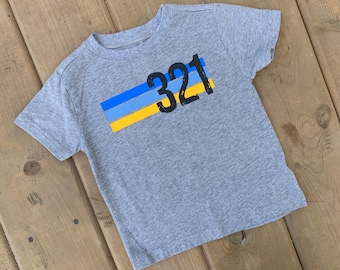 YOUTH - Down Syndrome Awareness Shirts, Unisex Tee, Toddler, Boys and Girls, 321 Striped Grey Tee