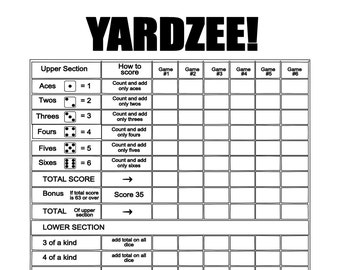 photograph about Yardzee Score Card Printable Free identify Yardzee rating card Etsy
