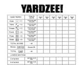 Printable YARDZEE Score file-DIY Yardzee scorecard- Digital file