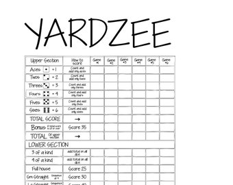 picture relating to Free Printable Yahtzee Score Cards identify Yahtzee rating card Etsy