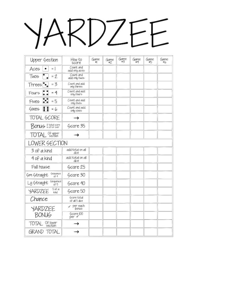 picture regarding Yardzee Score Card Printable identified as Printable 11X14 YARDZEE Ranking Card history- Do-it-yourself Yardzee scorecard- Electronic history