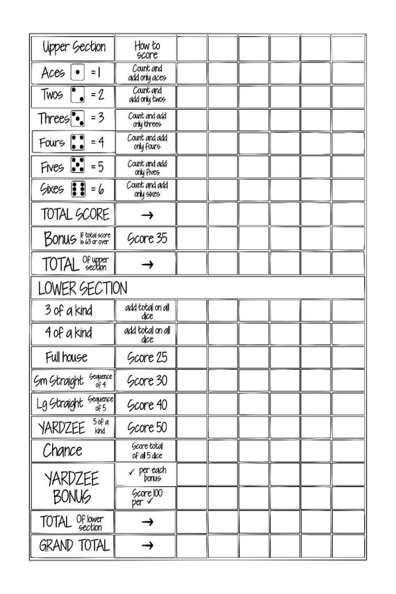 graphic about Yahtzee Score Cards Printable called Printable 24x36 YARDZEE/ YAHTZEE Rating Card report fill inside the blank--Do-it-yourself Yardzee scorecard- Electronic document