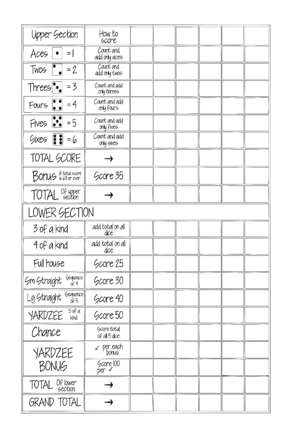 image regarding Yahtzee Score Sheet Printable named Printable 24x36 YARDZEE/ YAHTZEE Rating Card history fill within just the blank--Do-it-yourself Yardzee scorecard- Electronic history