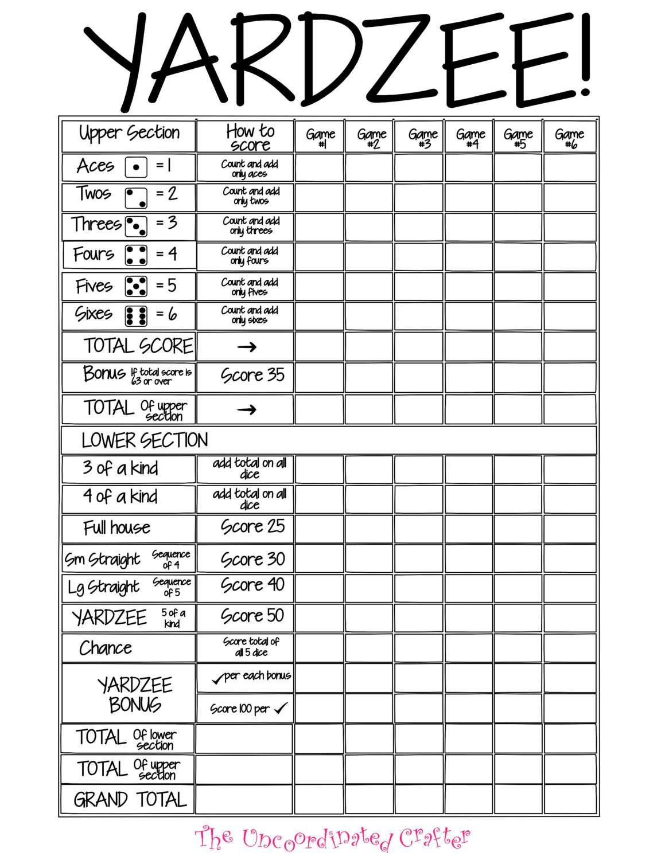 Printable 11x14 Yardzee Score Card File With Uncoordinated Etsy