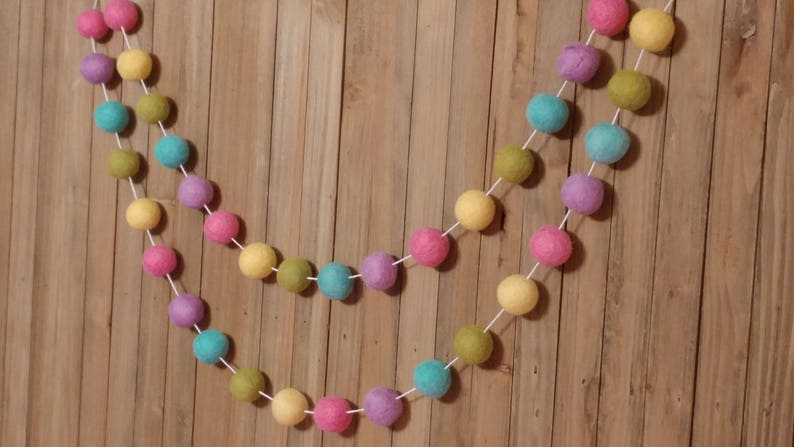 Easter Decor Pom Pom Easter Garland Pink and Aqua Spring Bunting Felt Ball Party Decor Spring Garland Spring Decor Spring Banner