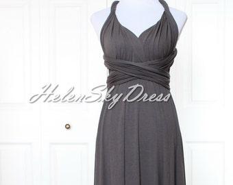 33bdcaf2df9 Infinity Dress Convertible Dress short Wrap Bridesmaid Dress Gown Formal in  Dark Grey tea length