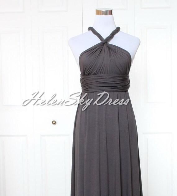 Dark Grey Infinity Dress Short Convertible Dress Halter Wrap Etsy