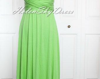 Wrap Convertible Infinity Dress BUD GREEN Evening Dresses Straight Hem long green Bridesmaid Dress
