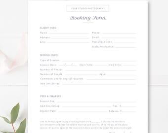 Kunden Die Buchung Form Für Fotografen Fotografie Vertrag Etsy