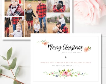 Christmas Photo Card Template, Holiday Card Templates for Photographers, Christmas Card Template, INSTANT DOWNLOAD!