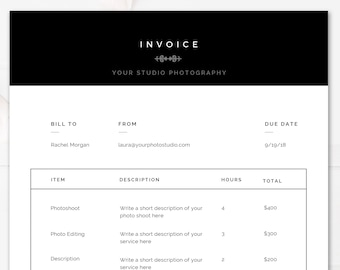 modern black white invoice template 85x11 photography invoice photoshop and ms word templates instant download