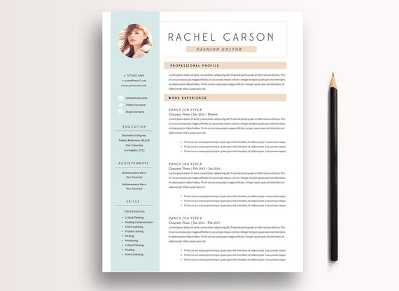 Creative and Modern Resume Template 3 page / CV Template + Cover Letter / Instant Download for MS Word & InDesign