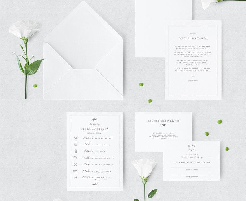 INSTANT DOWNLOAD! Photoshop Templates Wedding Timeline Classic Wedding Invitation Suite RSVP Card Invitation