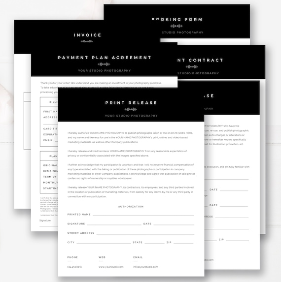 Photography Business Forms Bundle Photography Forms Template Set Photoshop Ms Word Templates Instant Download