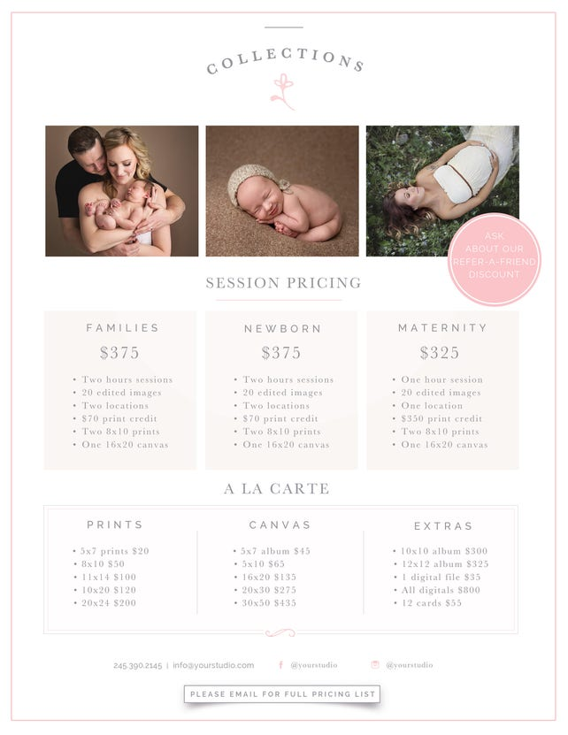 Photography Price List Template Photographer Pricing Guide Photo