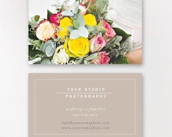 Wedding Photographer Business Card Template, Modern Business Card Design, Digital Photoshop Files - INSTANT DOWNLOAD