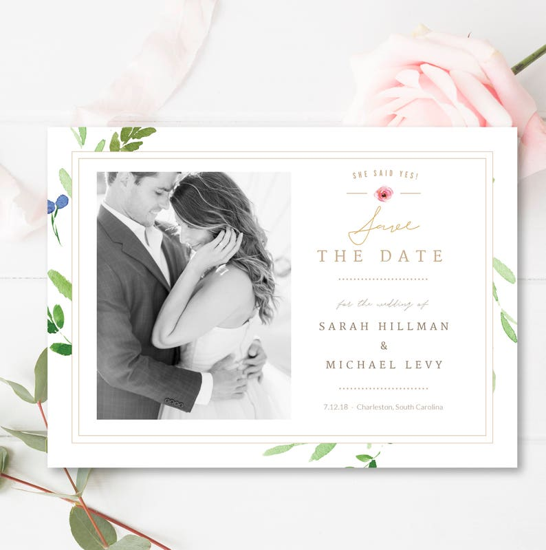 INSTANT DOWNLOAD! Save the Date Photo Card Template Design Wedding Photography PSD Photoshop Template