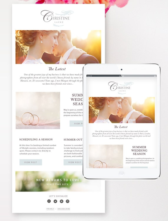 Newsletter Template For Email Photographer Email Template Etsy