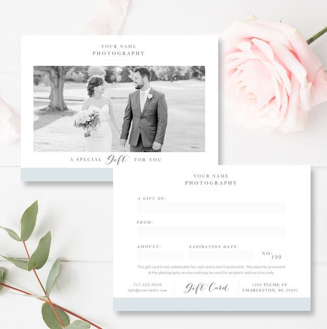 Instant Download Photography Gift Card Template Photoshop Gift