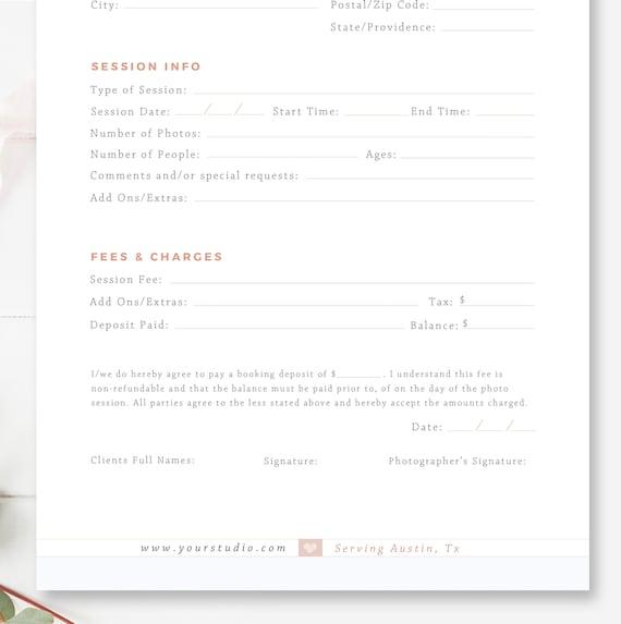 Kunden die Buchung Form für Fotografen Fotografie-Vertrag | Etsy