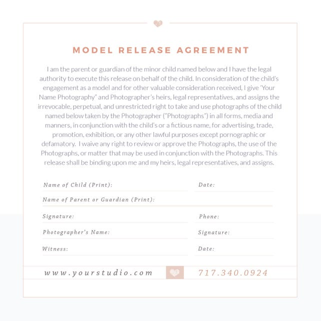 Photography Model Print Release Template Minors Form Photoshop INSTANT DOWNLOAD