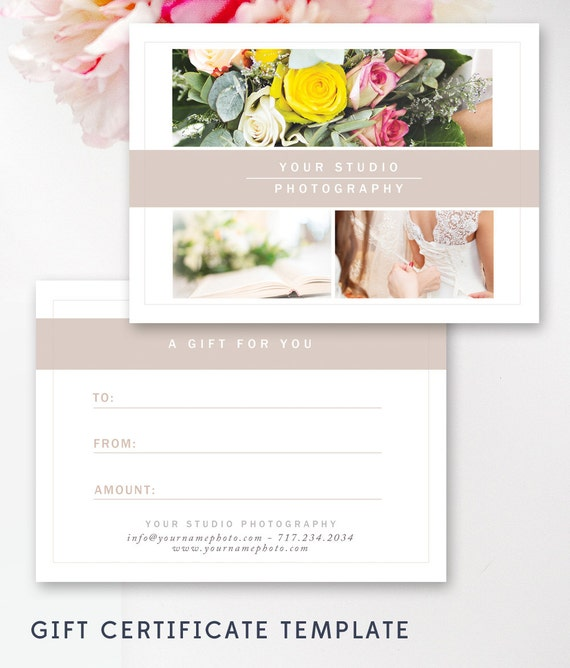 Photography Gift Certificate Template Gift Card Templates Etsy