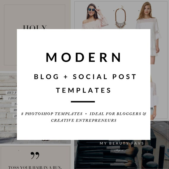 Modern Blog Post Template Package Blog Post Graphics Social Etsy
