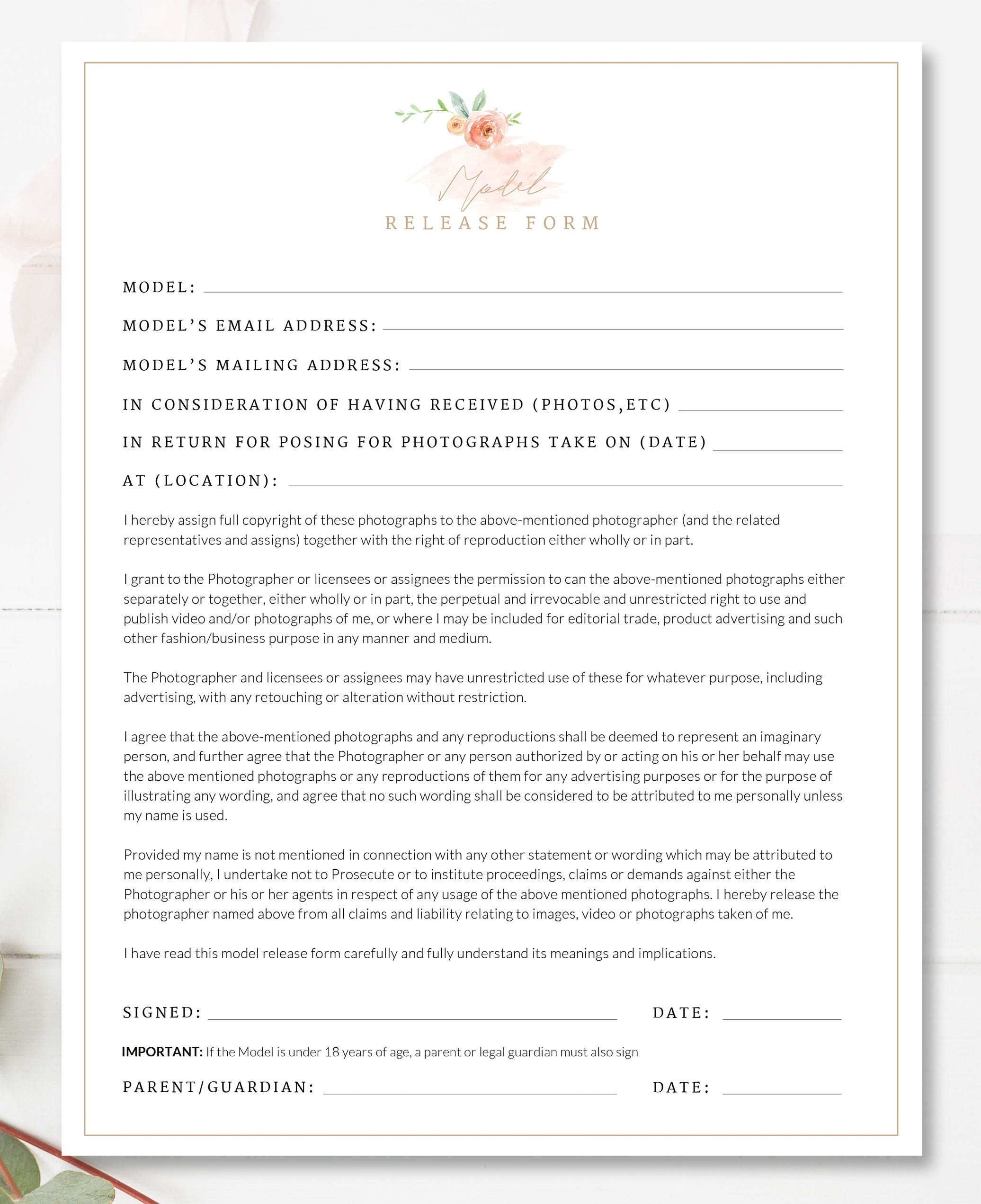 Printable Photography Contract Model Release Permission Etsy
